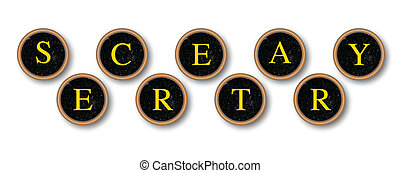 Secretary - The word SECRETARY in typewriter key pads over a...