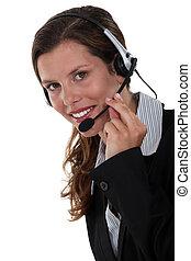 Secretary wearing a headset