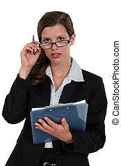 Secretary with a clipboard