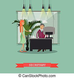 Secretary with cup of coffee, vector illustration in flat style