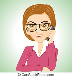 secretary with glasses talking on phone