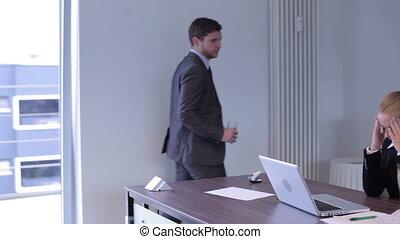 Secretary with headache