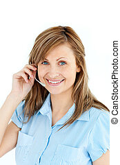 secretary with headphones against a white background