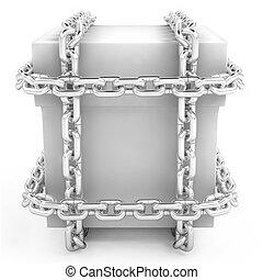 secreto, cajón, en, un, acero, cadena, blanco