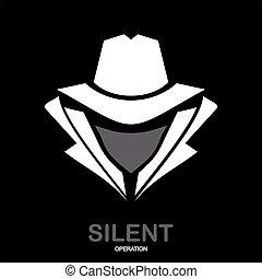 secreto, hacker., espía, icon., servicio, incognito., agent...