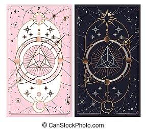 secreto, menor, místico, rosa, blanco, vector, plata, arcana, ilustración, tarjeta oro, symbols., cups., fondo., oro, aislado, negro