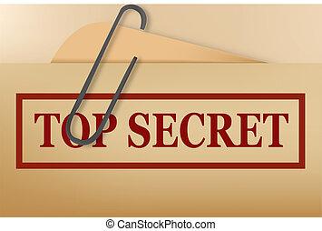 secreto superior, carpeta, archivo, con, leve