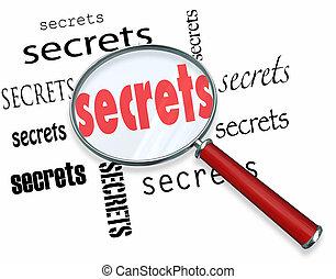 secretos, -, buscando, lupa, indicios, hallazgos