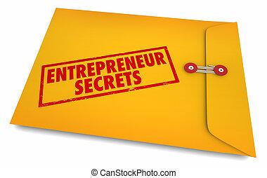 secrets affaires, enveloppe, démarrage, illustration, entrepreneur, 3d