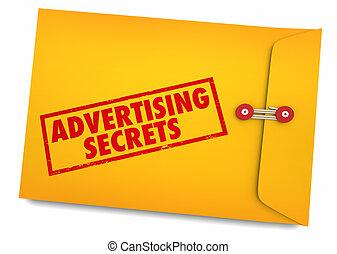 secrets affaires, enveloppe, illustration, publicité, annoncer, ton, 3d