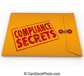 secrets, conseil, conformité, enveloppe, jaune, règles, suivre