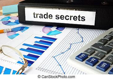 secrets, dossier, étiquette, commercer