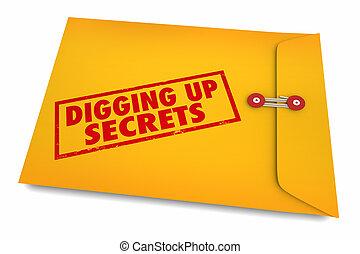 secrets, haut, illustration, enquêter, creuser, indices, trouver, 3d