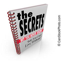 secrets, information, livre, révélé, connaissance