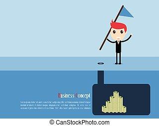 Secrets of The Rich Businessman Concept, vector illustration