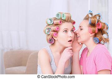 secrets, partage, filles, jeune