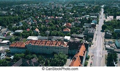 secteur, aérien, résidentiel, pologne, poznan, vue