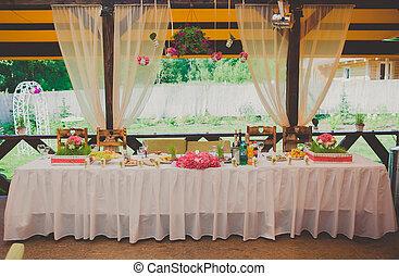 secteur, dîner, réception, mariage, prêt, fête