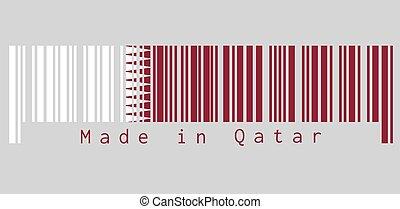 secteur, dentelé, ensemble, mouche, côté, barcode, drapeau, séparé, triangles, côté, grue, neuf, bande, blanc, qatar, couleur, rouge foncé, ligne., acte