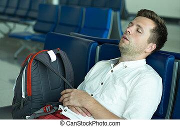 secteur, dormir, salon, aéroport., caucasien, homme