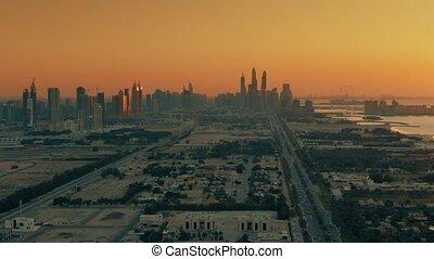 secteur, emirats, uni, vue, côtier, soir, aérien, arabe, dubai