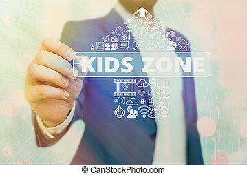 secteur, enfants, conçu, région, zone., projection, permettre, enjoy., texte, jeu, conceptuel, gosses, signe, photo, ou