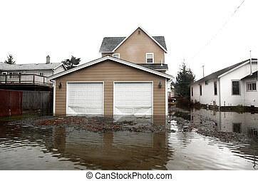 secteur, inondation, seattle, washington, usa