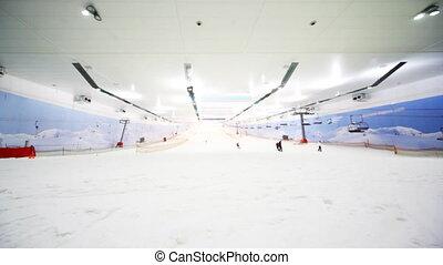 secteur, large, hiver, vue, fin, sport, ski, centre