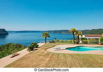 secteur, maison, lac, grand, luxe, washington., front mer, herbe, piscine, vue