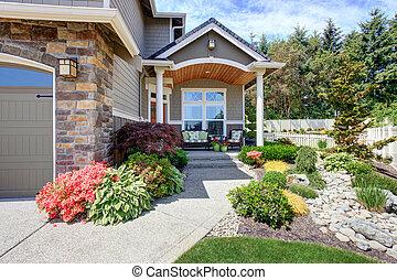 secteur, maison, patio, garage, extérieur
