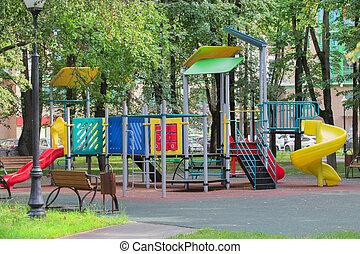secteur, résidentiel, cour de récréation, enfants