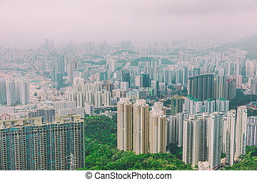 secteur résidentiel, dans, hong kong
