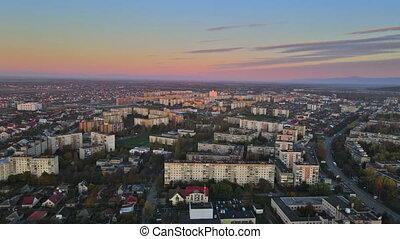 secteur résidentiel, ville, levers de soleil, uzhgorod, ...