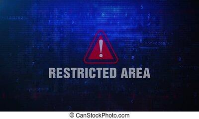 secteur, restreint, écran, clignotant, alerte,...