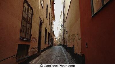 secteur, scandinave, motion., bâtiment, ville, concept., steadicam, vieux, lent, étroit, stockholm, streets., appartement, rues, voyager, coup, winter., maisons, façades