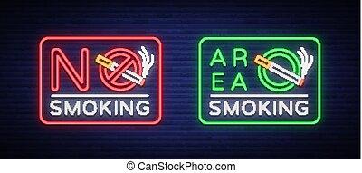 secteur, signe, smoking., non, néon, symbole, clair, vecteur, endroit, fumer, lumineux, ban., bannière, signs., signe