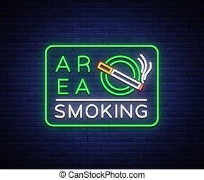 secteur, signe, smoking., signe., néon, symbole, clair, vecteur, endroit, fumer, lumineux, signe, bannière