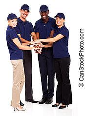 secteur tertiaire, personnel, mains ensemble
