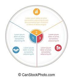 secteur, texte, diagramme, tarte, diagramme, 3, données, options