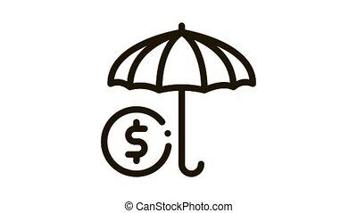 secteurs, icône, parapluie, animation, couleur