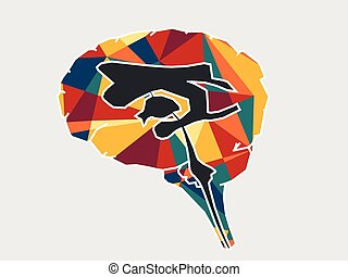section, cerveau, projection, croix