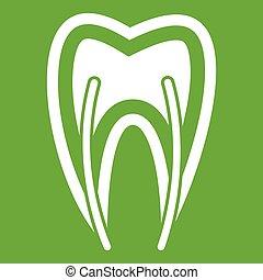 section, dent, vert, croix, icône