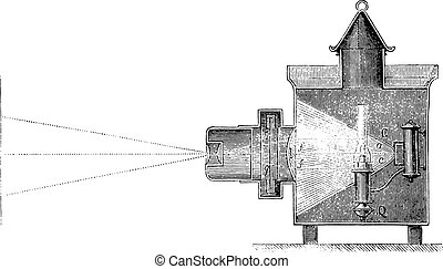 Section of a magic lantern, vintage engraving.