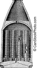 Section of a pottery kiln vintage engraving