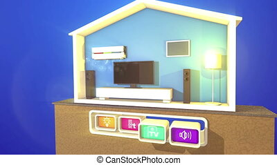 """Section of Smart Home with four buttons"" - ""An optimistic..."