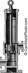 Section of the hot water pump of M. F. Carre, vintage engraving.