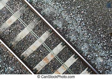 Section of train tracks on the rail line, overhead shot