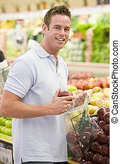 section, produire, achats, homme