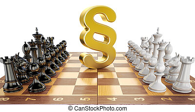 Section symbol on chess board with figures. Law chess concept, 3D rendering