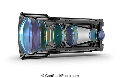 Sectional camera lens view